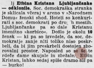 Slovenec, 20. marec 1911, str. 3, Etbina Kristana Ljubljančanke – odklonile.