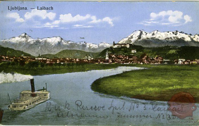 Ljubljana z Ljubljanico in Kamniškimi Alpami