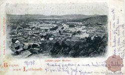 Ljubljana_Ljubljanica_Cerkev_sv.Petra_Gimnazija_Poljane_Cukrarna_1918