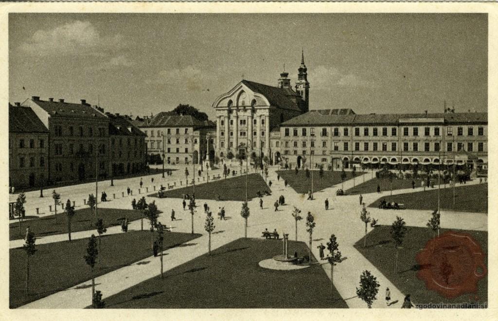 Ljubljana_Park_Zvezda_Uršulinska_cerkev_1940