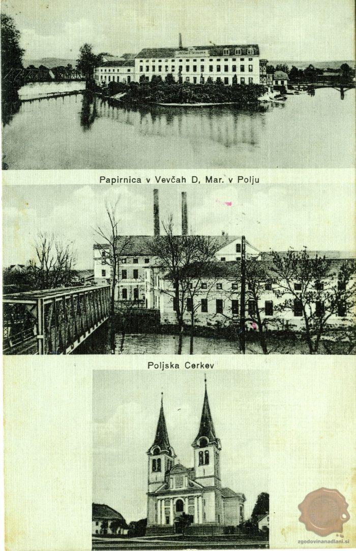 Papirnica Vevče in cerkev v Polju