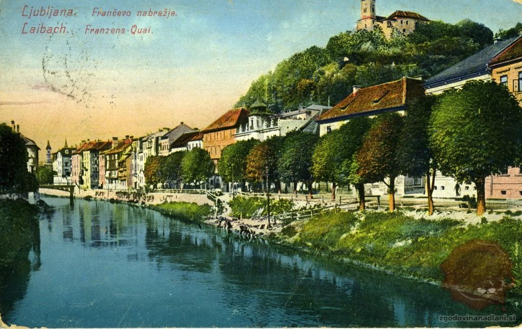 Ljubljana_Frančevo_nabrežje_Ljubljanski_grad_Ljubljanica_1916