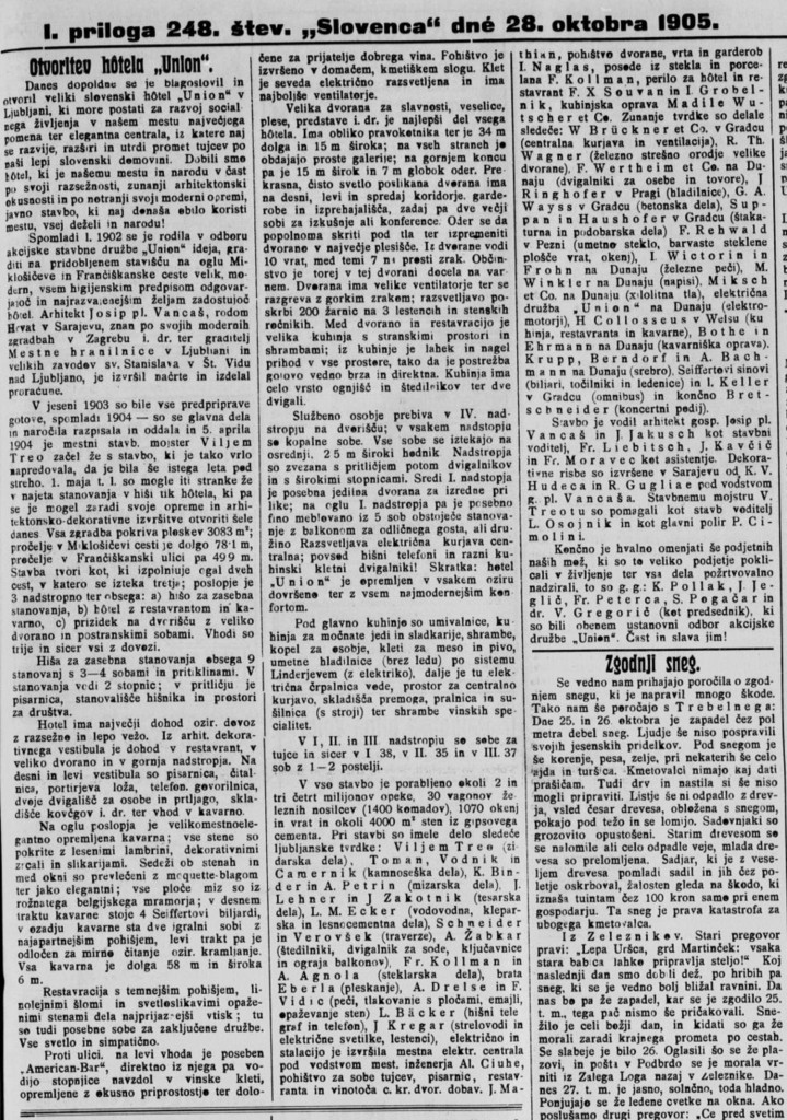 Otvoritev hotela Union, Slovenec 28. oktober 1905, str. 3