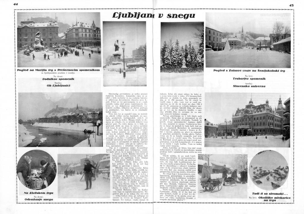 Ljubljana v snegu. Ilustrirani Slovenec (10.02.1929), letnik 5, številka 6, str. 4