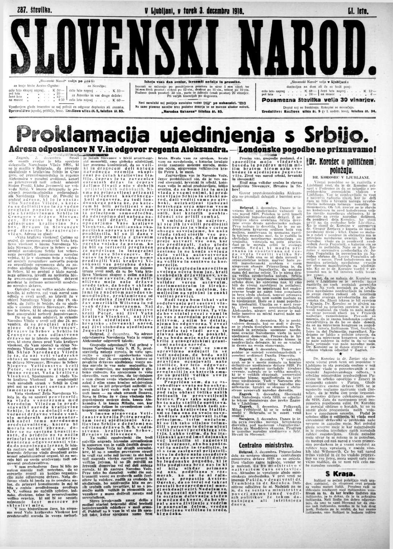 Ustanovitev Kraljevine Srbov, Hrvatov in Slovencev