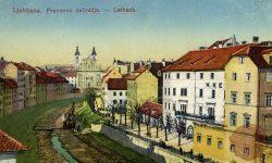 286-1_Ljubljana_regulacija_Ljubljanica_Frančiškanska_cerkev_1908