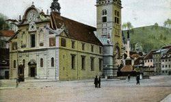 Ljubljana_Šentjakobski_trg_Šentjakobska_cerkev_Levstikov_trg_1906
