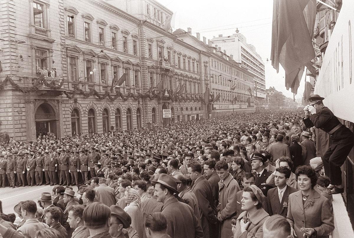 Prvomajski_sprevod_v_Ljubljani_1961_Wiki, Večer