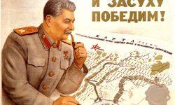 Sovjetski plakat iz II. svetovne vojne, Stalin načrtuje obrambo Stalingrada.