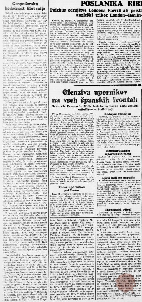 Gospodarska bodočnost Slovenije, Jutro (15.08.1936), letnik 17, številka 188, str. 1