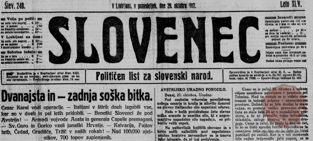 Dvanajsta soška bitka. Vir: Slovenec, 29.10.1917.