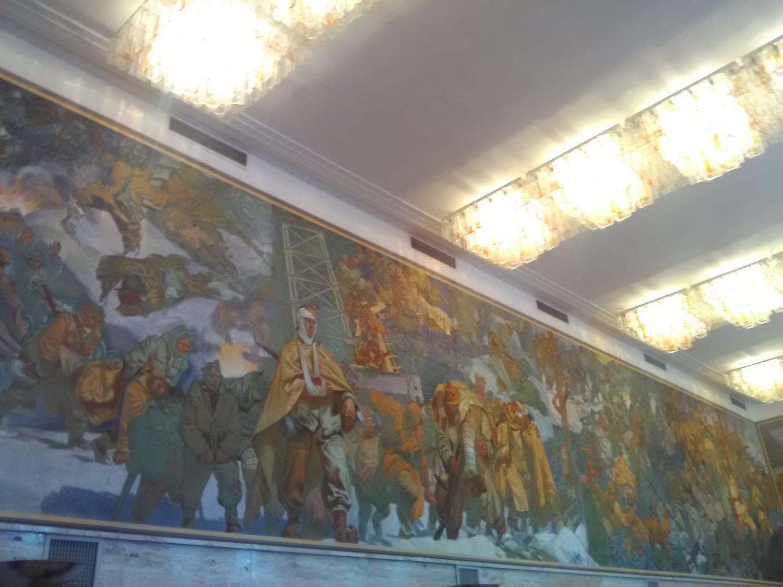 Slavko Pengov je na freskah v Titovi vili na Bledu upodobil bitko. Foto Danijel Osmanagić.