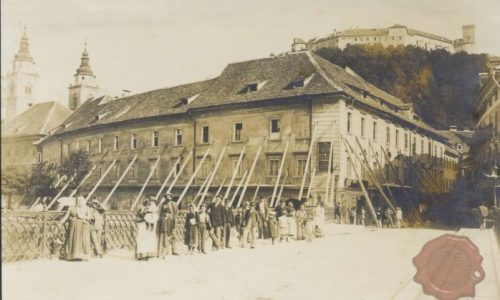 Špitalska (današja Stritarjeva ulica) po potresu leta 1895, FOTO Wikipedia