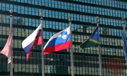 Slovenska zastava pred sedežem ZN-a v New Yorku, FOTO Wikimedia