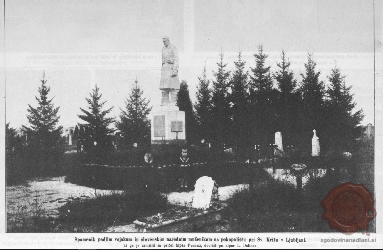 Spomenik padlim na ljubljanskih Žalah. Vir: Ilustrirani Slovenec, 1.11.1925.