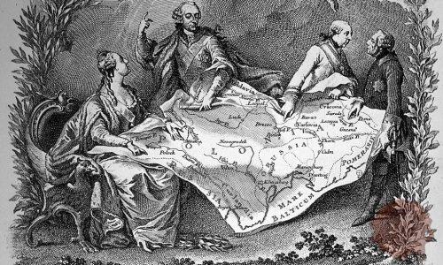Katarina Velika, Jožef II. in Friderik Veliki dogovarjajo delitev Poljske (FOTO: Wikipedia)