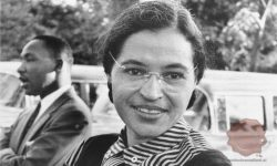 Rosa Parks (v ozadju Martin Luther King), FOTO Wikipedia