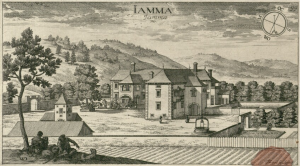 Grad Jama v Valvasorjevi upodobitvi leta 1679. Vir: www.mapy.mzk.cz.