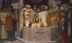 Pokristjanjevanje kijevskega kneza Vladimirja I. leta 988. Vir: Wikipedia