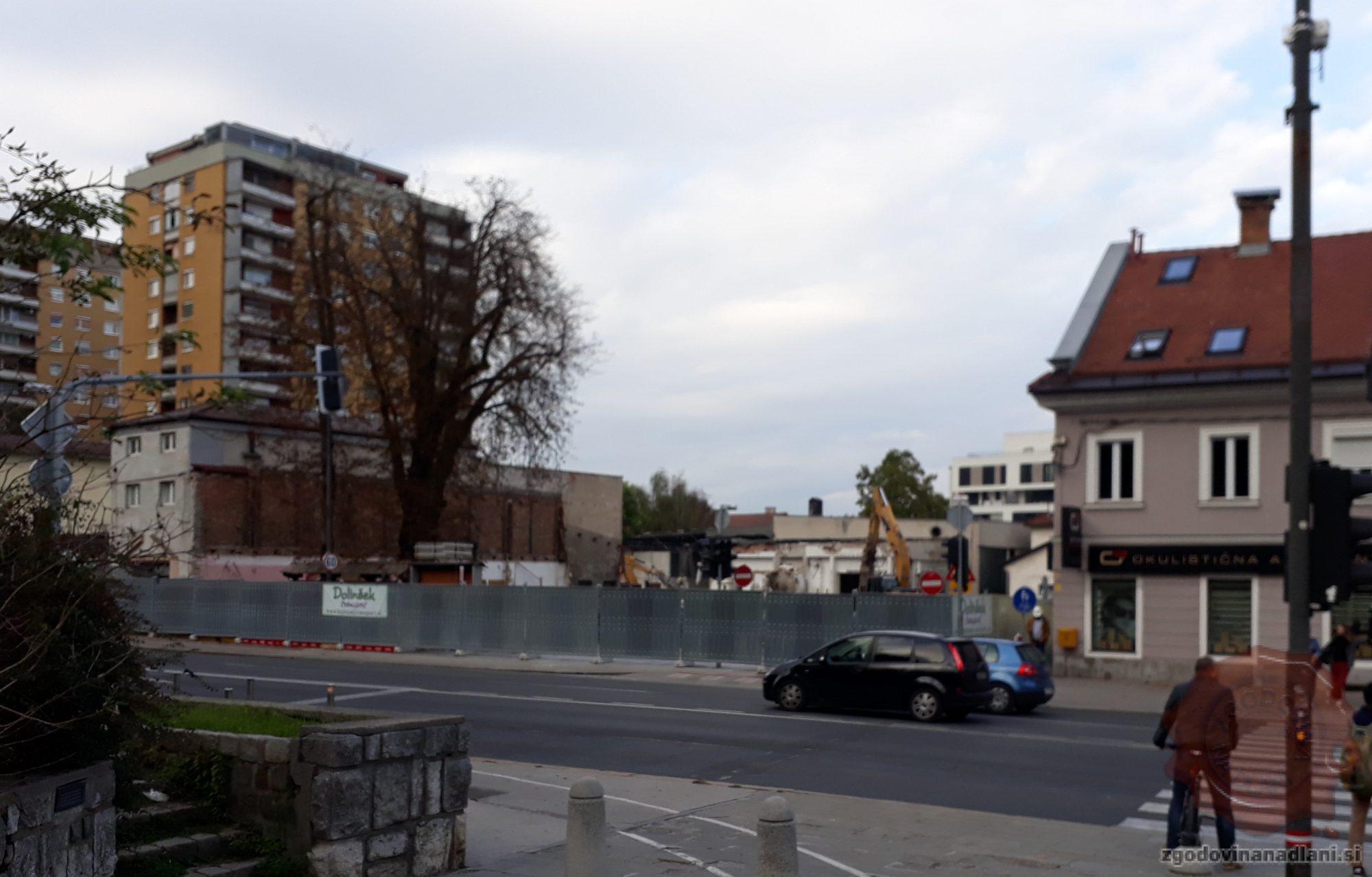 Rušenje gostilne Keršič, 7.10.2019. Foto: Aleš Šafarič.