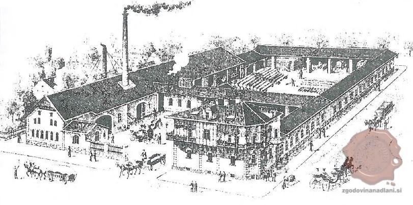Upodobitev tovarne vozov Peter Keršič pred 1909. Vir: Šuštar, Spodnja Šiška, str. 87.