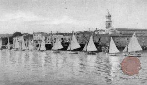 Mesto Krk na otoku Krk. Vir: Il. Slovenec, 16.9.1928,str. 299