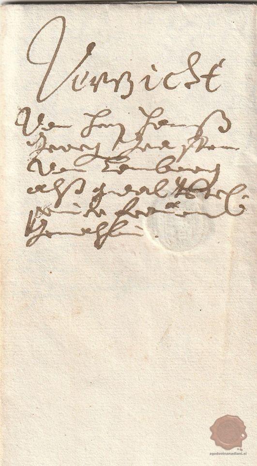 Naslovnica pisma Janeza Jurija III. grofa Lamberga. Vir: zasebna zbirka Tomaža Vrabiča.